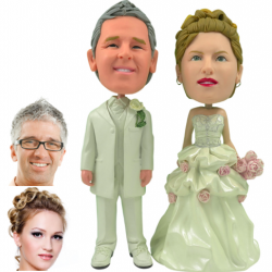 Personalized Wedding Cake Topper - Cake Topper of a Rosy Couple