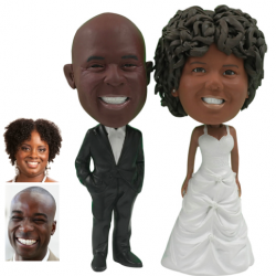 Personalized Wedding Cake Topper of a Couple with Hands in Pockets, a Cake Topper that Looks Like the Bride and Groom