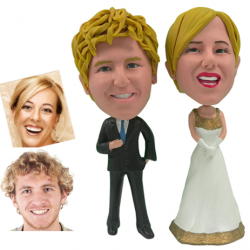 Personalized Wedding Cake Topper of a Golden Couple, a Cake Topper that Looks Like the Bride and Groom